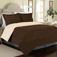 Solid 3-Piece Reversible Full/Queen Comforter Set in Chocolate/Cream