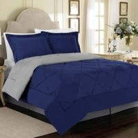 Solid 2-Piece Reversible Twin Comforter Set in Blue