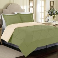Solid 3-Piece Reversible Full/Queen Comforter Set in Sage
