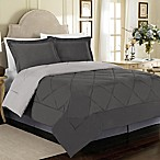 Solid 3-Piece Reversible Full/Queen Comforter Set in Charcoal/Silver
