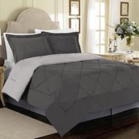 Solid 2-Piece Reversible Twin Comforter Set in Charcoal/Silver