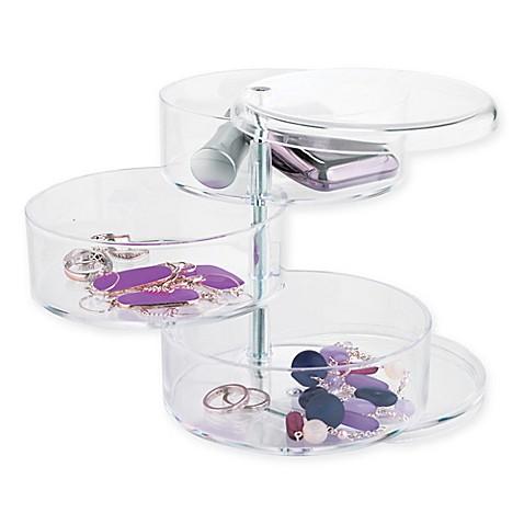 3 tier acrylic swivel organizer bed bath beyond for Bathroom jewelry holder