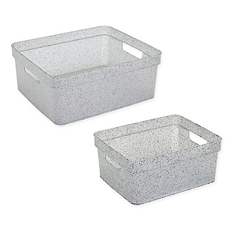 Simplify granite look resin storage tote in grey bed for Marble bathroom bin