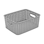 Simplify Small Herringbone Storage Tote in Grey