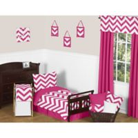 Sweet Jojo Designs 5-Piece Pink and White Chevron Toddler Bedding Set
