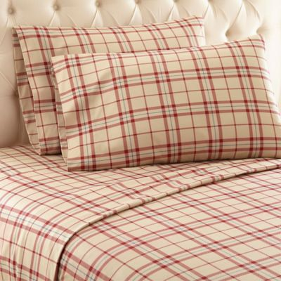Micro Flannel® Carlton Plaid Twin Sheet Set In Tan