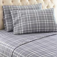 Micro Flannel® Carlton Plaid Twin Sheet Set in Grey