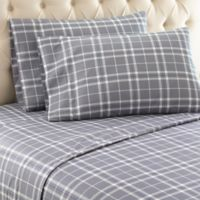 Micro Flannel® Carlton Plaid Queen Sheet Set in Grey
