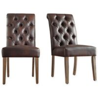Verona Home Radcliffe Button-Tufted Dining Chairs in Brown (Set of 2)