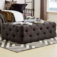 Verona Home Nottingham Chesterfield Button-Tufted Rectangular Ottoman in Dark Grey