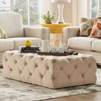 Verona Home Nottingham Chesterfield Button-Tufted Rectangular Ottoman in Beige