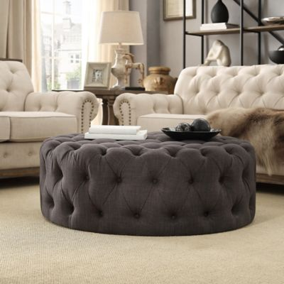 verona home nottingham round ottoman in dark grey