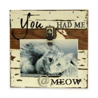 "Sweet Bird Meow 8""x8"" Clip Wood Picture Frame in White"