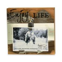 "Sweet Bird & Co. 4-Inch x 6-Inch ""Enjoy Life"" Clip Wooded Photo Frame in Blue Whisper"