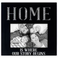 "Malden® 4-Inch x 6-Inch ""Home"" Galvanized Picture Frame in Black"