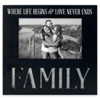 "Malden® 4-Inch x 6-Inch ""Family"" Galvanized Picture Frame in Black"