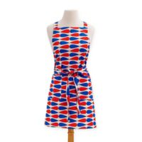 Teardrop Hamptons Bib Apron in Red/Blue
