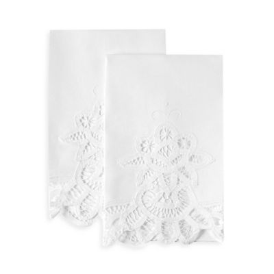 Boutross Battenberg Lace Hand Towels In White (Set Of 2)