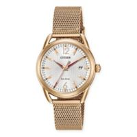 Citizen Eco-Drive Ladies' 34mm LTR Watch in Rose Gold Tone Stainless Steel with Mesh Bracelet