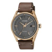 Citizen Eco-Drive Men's 42mm Drive CTO Watch in Rose Goldtone Stainless Steel with Leather Strap