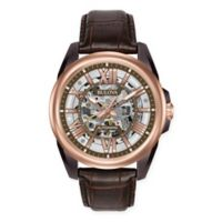 Bulova Men's 43mm Automatic Skeleton Watch in Rose Goldtone Stainless Steel w/Leather Strap