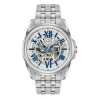 Bulova Men's 43mm Automatic Blue-Accented Skeleton Watch in Stainless Steel