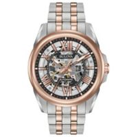 Bulova Men's 43mm Automatic Skeleton Watch in Two-Tone Stainless Steel