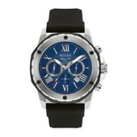 Bulova Marine Star Men's 44mm Blue Chronograph Watch in Stainless Steel w/Black Silicone Strap