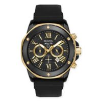 Bulova Marine Star Men's 44mm Chronograph Watch in Black/Goldtone Stainless Steel w/Silicone Strap