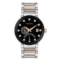 Bulova Men's 44mm Black Dial Diamond Watch in Black and Two-Tone Stainless Steel