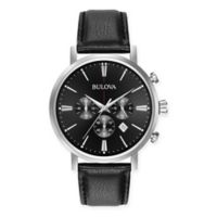 Bulova Classic Men's 41mm Black Chronograph Watch in Stainless Steel w/Black Leather Strap