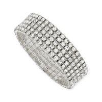 1928® Jewelry Silvertone Crystal Stretch Bracelet
