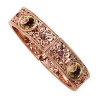 1928® Jewelry Rose Goldtone Floral and Crystal-Accented Stretch Bracelet