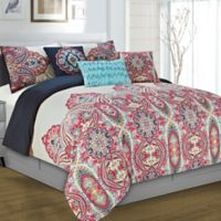 Yuri 5-Piece Reversible Twin Comforter Set in Red/White