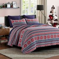 Wonderland Reversible Full/Queen Quilt Set in Red/Navy