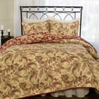 Versailles Reversible Full/Queen Quilt Set in Tan