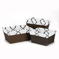 Sweet Jojo Designs Princess Basket Liner in Black/White/Pink (Set of 3)