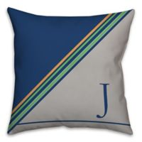 Stripes Square Throw Pillow in Blue/Grey/Green
