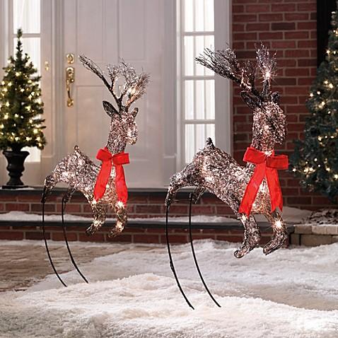 Lighted Grapevine Reindeer Set Of 2 Bed Bath Amp Beyond