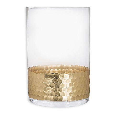 image of Home Essentials & Beyond Etched Honeycomb Candle Holder in Gold