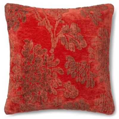 loloi rich viscose 18inch square throw pillow in coral