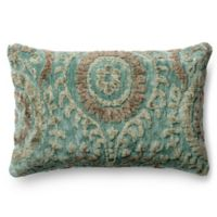 Loloi Rich Viscose Oblong Throw Pillow In Blue Gr