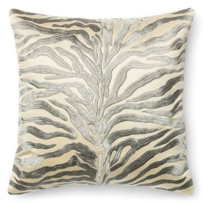 loloi embroidered zebra 18inch square throw pillow in silver