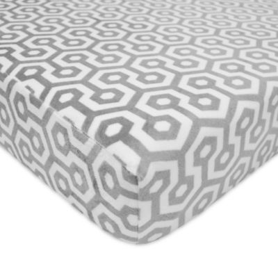 Ordinaire TL Care® Heavenly Soft Chenille Geometric Fitted Crib Sheet In Grey