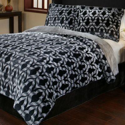 Marrakesh 3 Piece Reversible Plush Full/Queen Comforter Set In Black