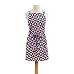 Diamond Lane Bib Apron in Red/Blue