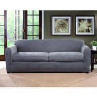 Sure Fit Ultimate Stretch Chenille 2 Cushion Sofa Slipcover In Grey