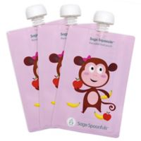 Sage Spoonfuls™ Squeezie 3-Pack 7 oz. Monkey Reusable Food Pouch