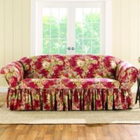 Sure Fit Ballad Bouquet By Waverly Sofa Slipcover In Crimson