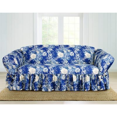 Sure Fit Ballad Bouquet By Waverly Sofa Slipcover In Indigo